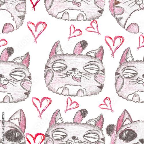 Hand drawn seamless pattern. Cute kittens.
