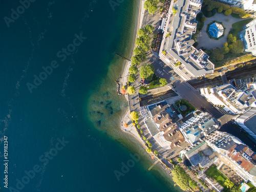 Foto Aerial view of Montreux waterfront, Switzerland