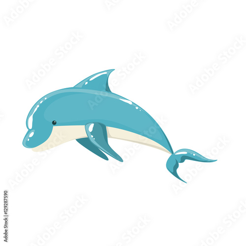 Photo Blue Bottlenose Dolphin Jumping For Entertainment Show, Realistic Aquatic Mammal