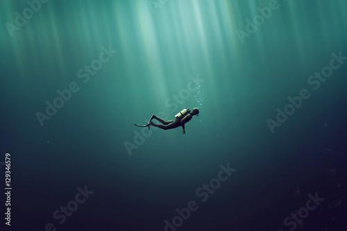 Fotografie, Tablou Taucher im Meer