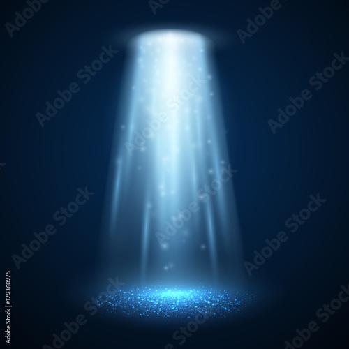 Canvas Print UFO light beam isolated. Vector illustration