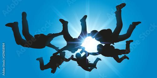 Obraz na plátně Parachutisme - Chute libre - Parachutiste