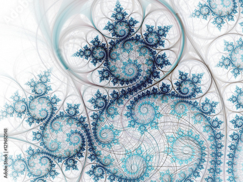 Abstract swirly fractal ocean, digital artwork for creative graphic design