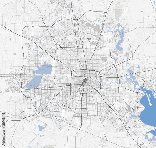 Obraz na plátně Map Houston city. Texas Roads