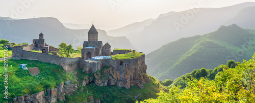 Canvas Print Beautiful view of ancient monastery in setting sun