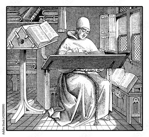 Obraz na plátně Medieval monk copying an ancient manuscript, vintage engraving