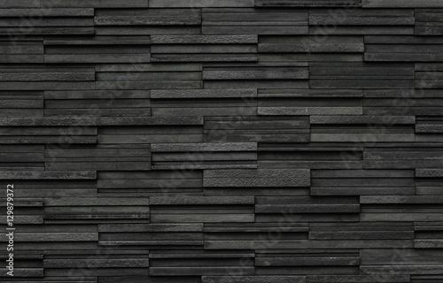 Carta da parati Black bricks slate texture background, slate stone wall texture