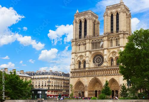 Fotografie, Obraz Notre Dame cathedral facade in Paris, France