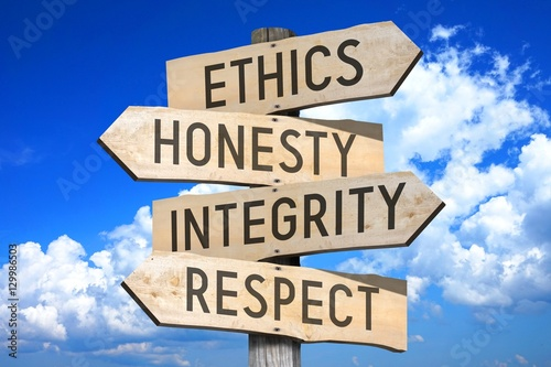 Canvas Print Wooden signpost with four arrows - ethics, honesty, integrity, respect - great for topics like business values etc