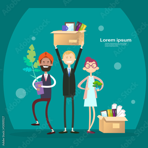 Business People Group Hold Box With Office Stuff Recruitment New Job Position Vacancy Flat Vector Illustration