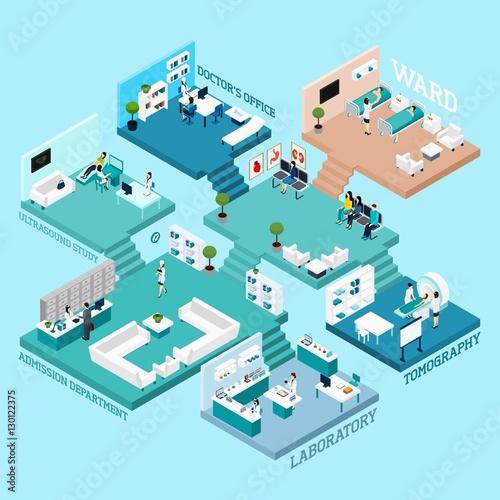 Hospital Isometric Scheme Icons