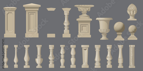 Fotografía Set of random style balusters with stands