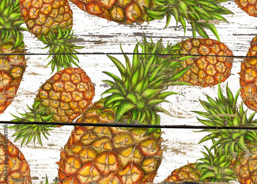 Ananasy na drewnie <span>plik: #130363155 | autor: arevka</span>