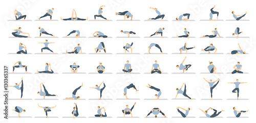 Stampa su Tela Yoga poses seton white background