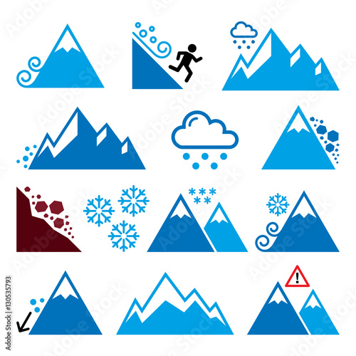 Foto Mountains, avalanche, snowslide- natural disaster icons set