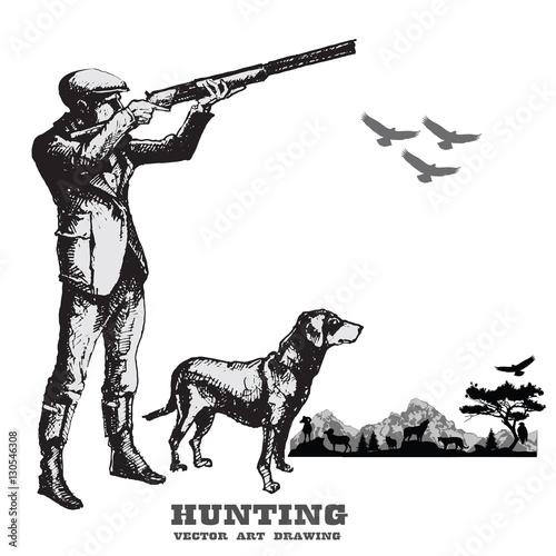 Obraz na plátne Hunting with dog.Hand drawn vector.