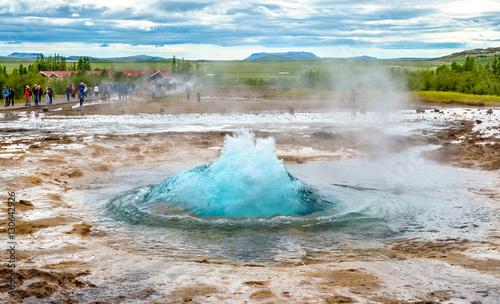 Fotografija Strokkur geyser about to erupt