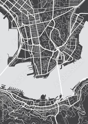 Fototapeta Vector detailed map Hong Kong