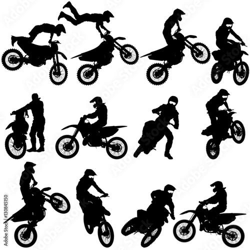Fototapeta Set of biker motocross silhouettes, Vector illustration