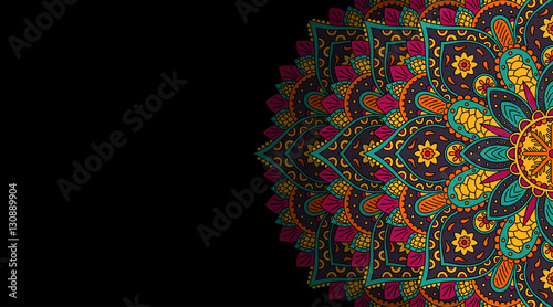 Fotografie, Obraz Banner with round abstract ornament