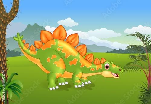 Cartoon cute stegosaurus posing with the prehistoric background