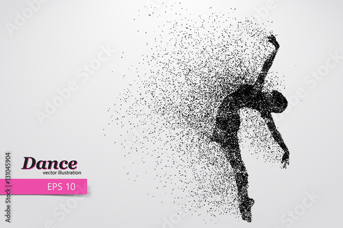 Photo Silhouette of a dancing girl from particle. Dancer woman.