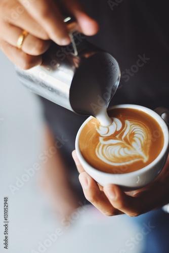 Billede på lærred coffee latte art in coffee shop