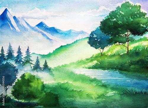 Akwarela letni krajobraz. Drzewo i góry.