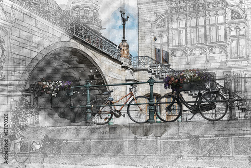 Bicycles under a bridge over the canals of Ghent. Watercolor and ink architectural drawing