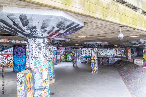 HDR image of graffiti at skate park, South Bank, London.
