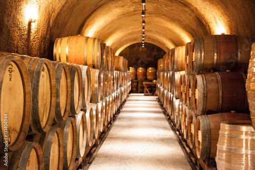 Wine Barrels at napa valley vineyard winery