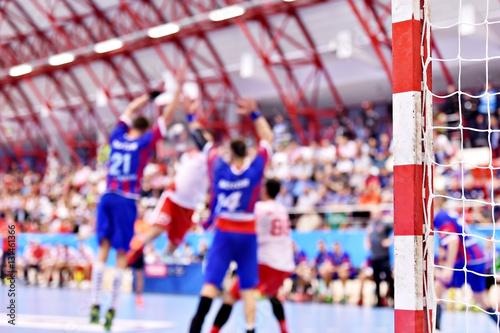 Handball blurred match scene