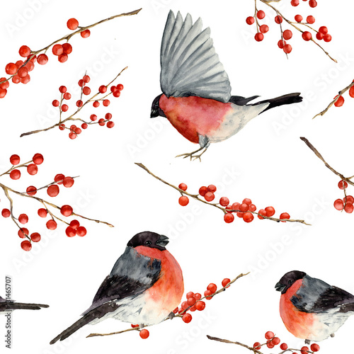 Obraz na płótnie Watercolor seamless pattern with bullfinch and red berries