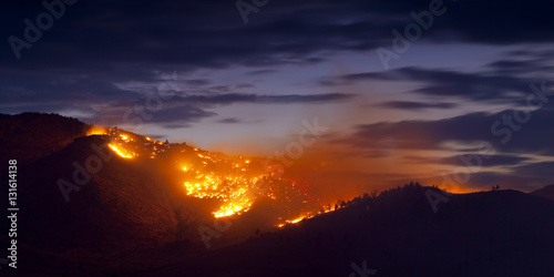 Fotografie, Obraz Burning Wildfire at Sunset