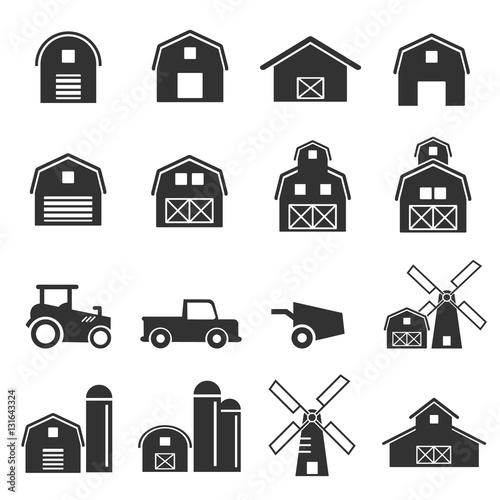 Tableau sur Toile barn icon set vector illustration