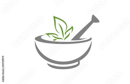 Fotografia Mortar and pestle vector design represents herbal medicine, pharmacy logo, signs