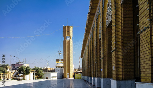 Exterior view of Abu Hanifa Mosque with the clocktower in Baghdad, Iraq