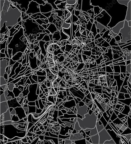 Obraz na plátně Black - white vector map of Rome Italy. City plan Rome.