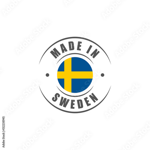 Wallpaper Mural Round Made in Sweden label with Swedish flag