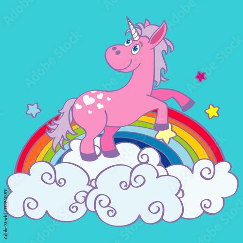 Vector hand drawn unicorn on rainbow