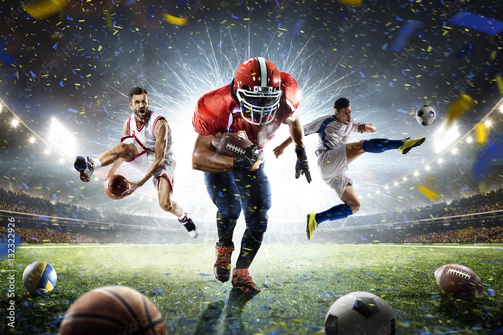 Wielu sportowców dumni kolaży na wielkiej arenie <span>plik: #132322926 | autor: 103tnn</span>