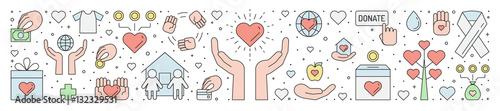 Billede på lærred Donations and charity multicolored horizontal illustration.