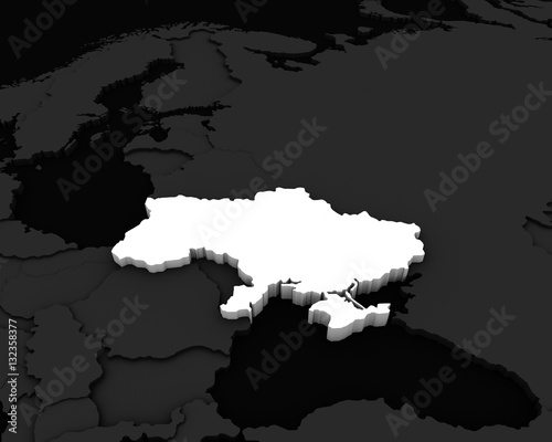 Canvas Print ukraine map 3D illustration