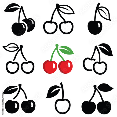 Canvastavla Cherry icon collection - vector outline and silhouette