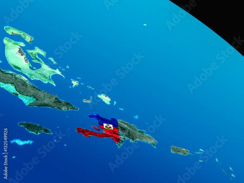 Canvastavla Flag of Haiti from space