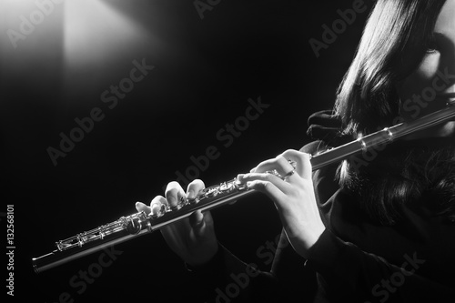 Fotografija Flute instrument Flutist playing flute music player