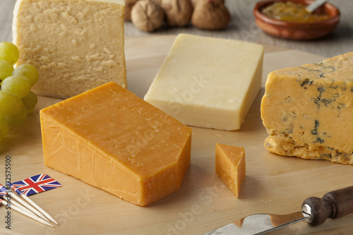 Pieces of traditional english cheese