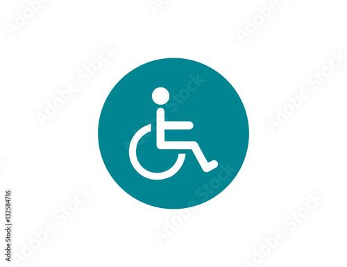 Vector medical cripple wheelchair icon Fotobehang