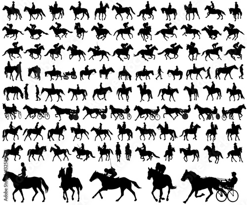 Fotografie, Tablou people riding horses silhouettes collection - vector