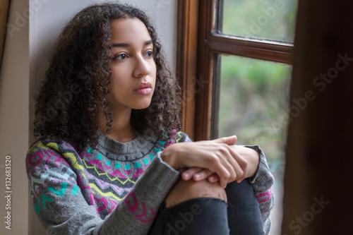 Slika na platnu Sad Depressed Mixed Race African American Teenager Woman